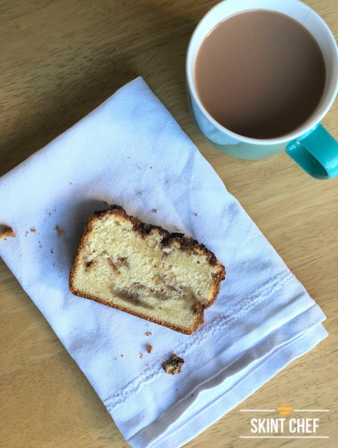 slice of apple and cinnamon loaf cake