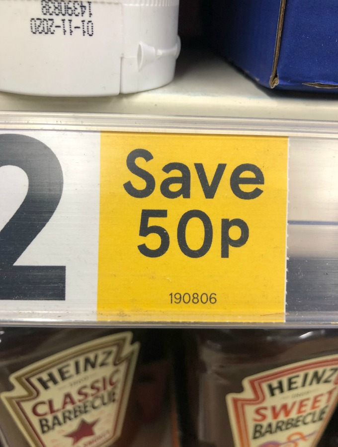 Tesco date code on price label